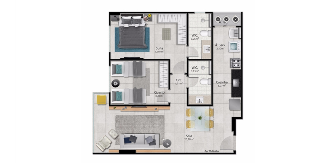 2 Quartos c/ Suite (sugestão de ambientação)