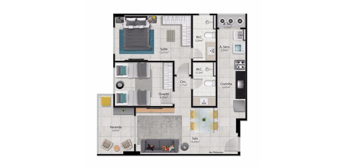 2 Quartos c/ Suite