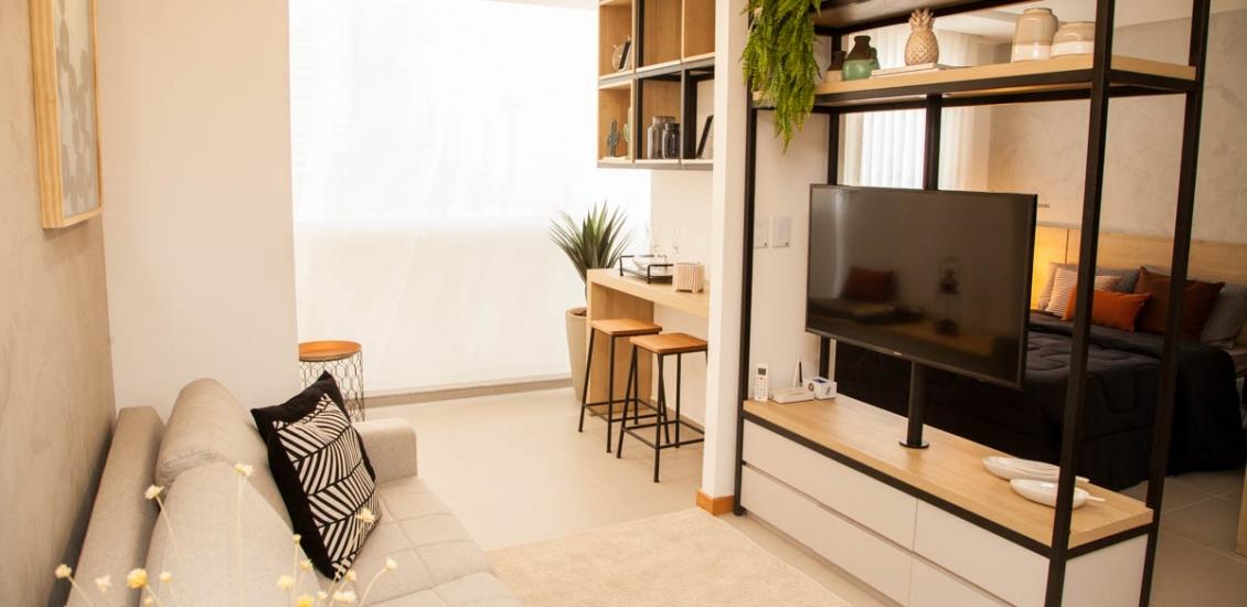 1 Qto Vogue Enseada - Foto Apartamento Decorado
